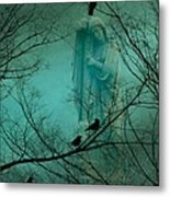 Angel And Crows In A Blue Mist Metal Print