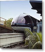 Blue Monorail In The Station Disneyland 01 Metal Print