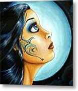 Blue Moon Goodess Metal Print by Elaina  Wagner