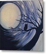 Blue Moon Vortex With Owl Metal Print