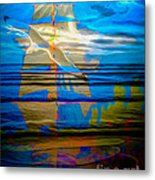 Blue Moonlight With Seagull And Sails Metal Print