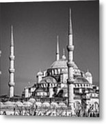 Blue Mosque Black And White Metal Print