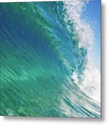 Blue Ocean Wave, View From In The Water Metal Print