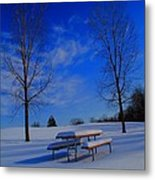 Blue On A Snowy Day Metal Print
