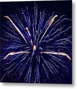 Blue Orange Fireworks Galveston Metal Print