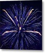 Blue Orange Fireworks Galveston Metal Print by Jason Brow