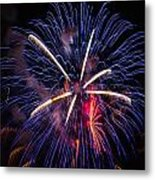 Blue Orange Red Fireworks Galveston Metal Print