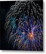 Blue Orange White Fireworks Galveston Metal Print