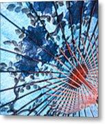 Blue Ornamental Thai Umbrella Metal Print