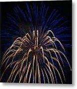 Blue Over Orange Fireworks Galveston Metal Print by Jason Brow