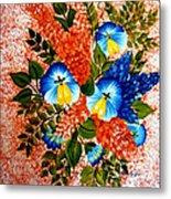 Blue Pansies Bouquet Metal Print