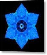 Blue Pansy II Flower Mandala Metal Print by David J Bookbinder