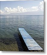 Blue Pier At Lake Ohrid Metal Print