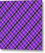 Blue Pink And Black Diagnal Plaid Cloth Background Metal Print