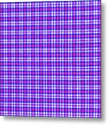Blue Pink And White Plaid Cloth Background Metal Print