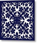 Blue Plumeria Quilt Metal Print