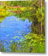 Blue Pond And Water Lilies Metal Print
