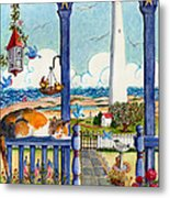 Blue Porch With Cat Metal Print