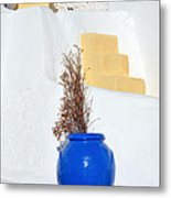 Blue Pot In Oia Town Metal Print