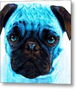 Blue - Pug Pop Art By Sharon Cummings Metal Print