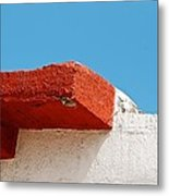 Blue Red And White Metal Print