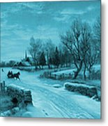 Blue Retro Vintage Rural Winter Scene Metal Print