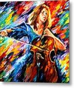 Blue Rhapsody - Palette Knife Oil Painting On Canvas By Leonid Afremov Metal Print