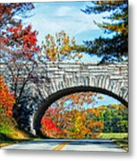 Blue Ridge Autumn Bridge Metal Print