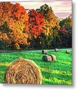Blue Ridge - Fall Colors Autumn Colorful Trees And Hay Bales II Metal Print