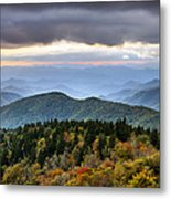 Blue Ridge Parkway Autumn Mountains Sunset Nc - Boundless Metal Print