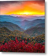 Blue Ridge Parkway Autumn Sunset Nc - Rapture Metal Print