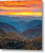 Blue Ridge Parkway Fall Sunset Landscape - Autumn Glory Metal Print by Dave Allen