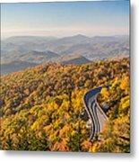 Blue Ridge Parkway In Peak Autumn Colors Metal Print by Pierre Leclerc Photography