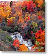 Blue Ridge Parkway Waterfall In Autumn Metal Print
