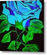 Blue Rose In The Rain Metal Print