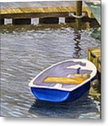 Blue Row Boat Metal Print