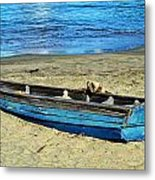 Blue Rowboat Metal Print
