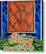 Blue Satin Merry Christmas Metal Print