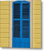 Blue Shutter Door - New Orleans Metal Print
