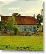 Blue Shuttered Cottage Metal Print