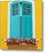 Blue Shutters And Flower Box Metal Print
