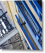 Blue Shutters In New Orleans Metal Print