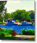 Blue Skies Boats And Bikes Montreal Summer Scene The Lachine Canal Seascape Art Carole Spandau Metal Print