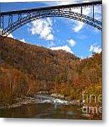 Blue Skies Over The New River Bridge Metal Print
