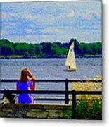 Blue Skies White Sails Drifting Blonde Girl And Collie Watch River Run Lachine Scenes Carole Spandau Metal Print