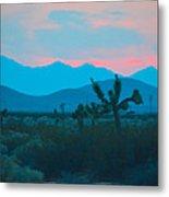 Blue Sky Cacti Sunset Metal Print