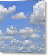 Blue Sky With Cumulus Clouds Day Usa Metal Print