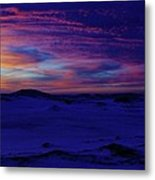 Blue Snow Sunset Metal Print