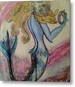Blue Spike Mermaid Metal Print