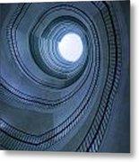 Blue Spiral Staircaise Metal Print